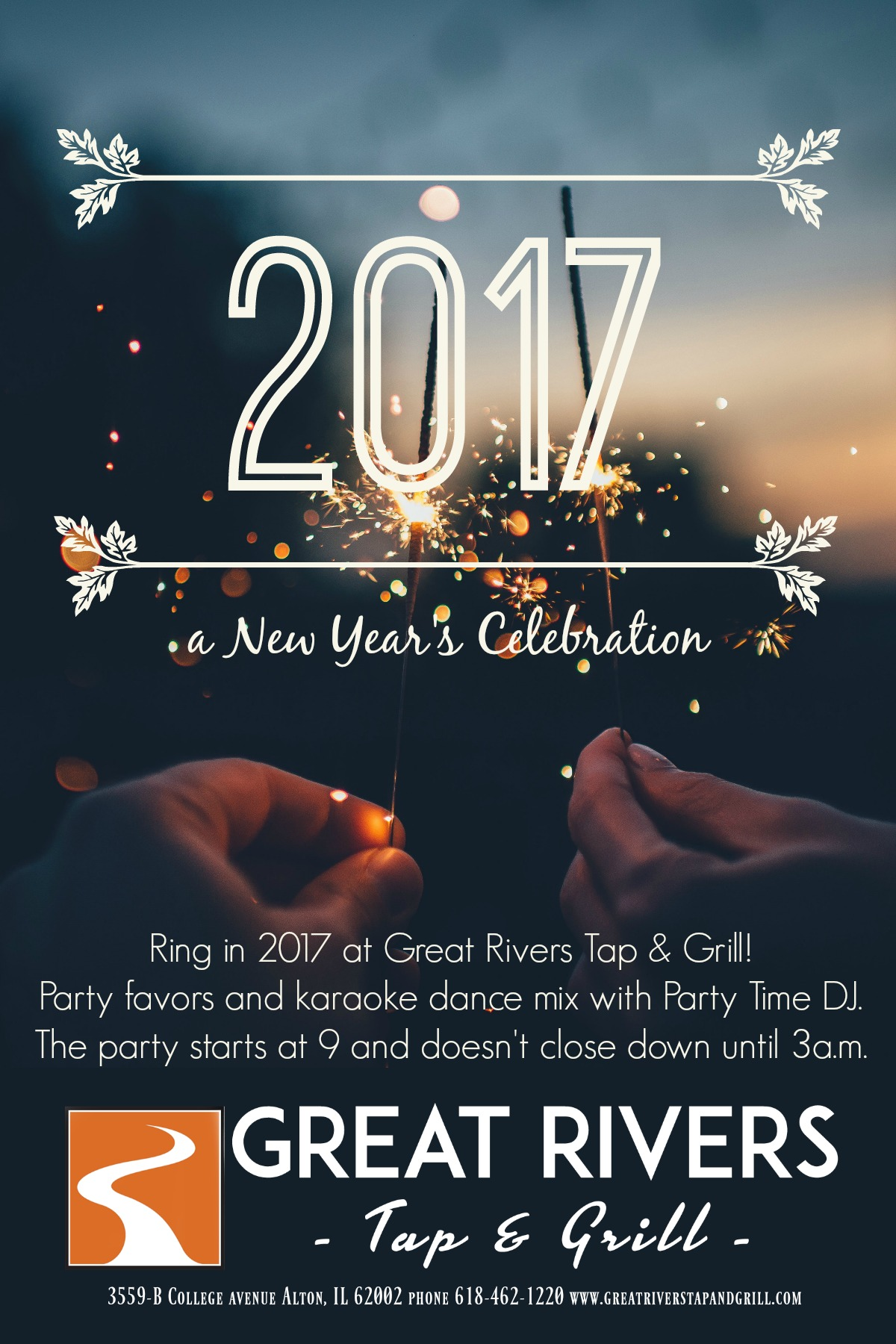 Ring in NYE 2017 with us! – Great Rivers Tap & Grill